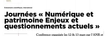 Colloque «Numérique et patrimoine»